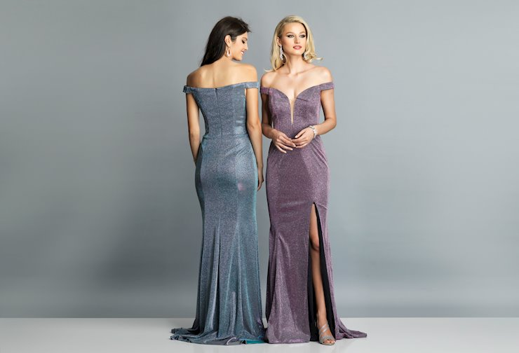 Dave & Johnny Prom Dresses Off the Shoulder Long Glitter Jersey Dress