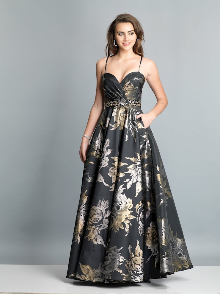 Dave & Johnny Black Jacquard Print Gown