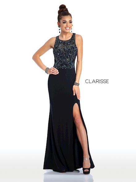 Long Black Embellished Prom Dress