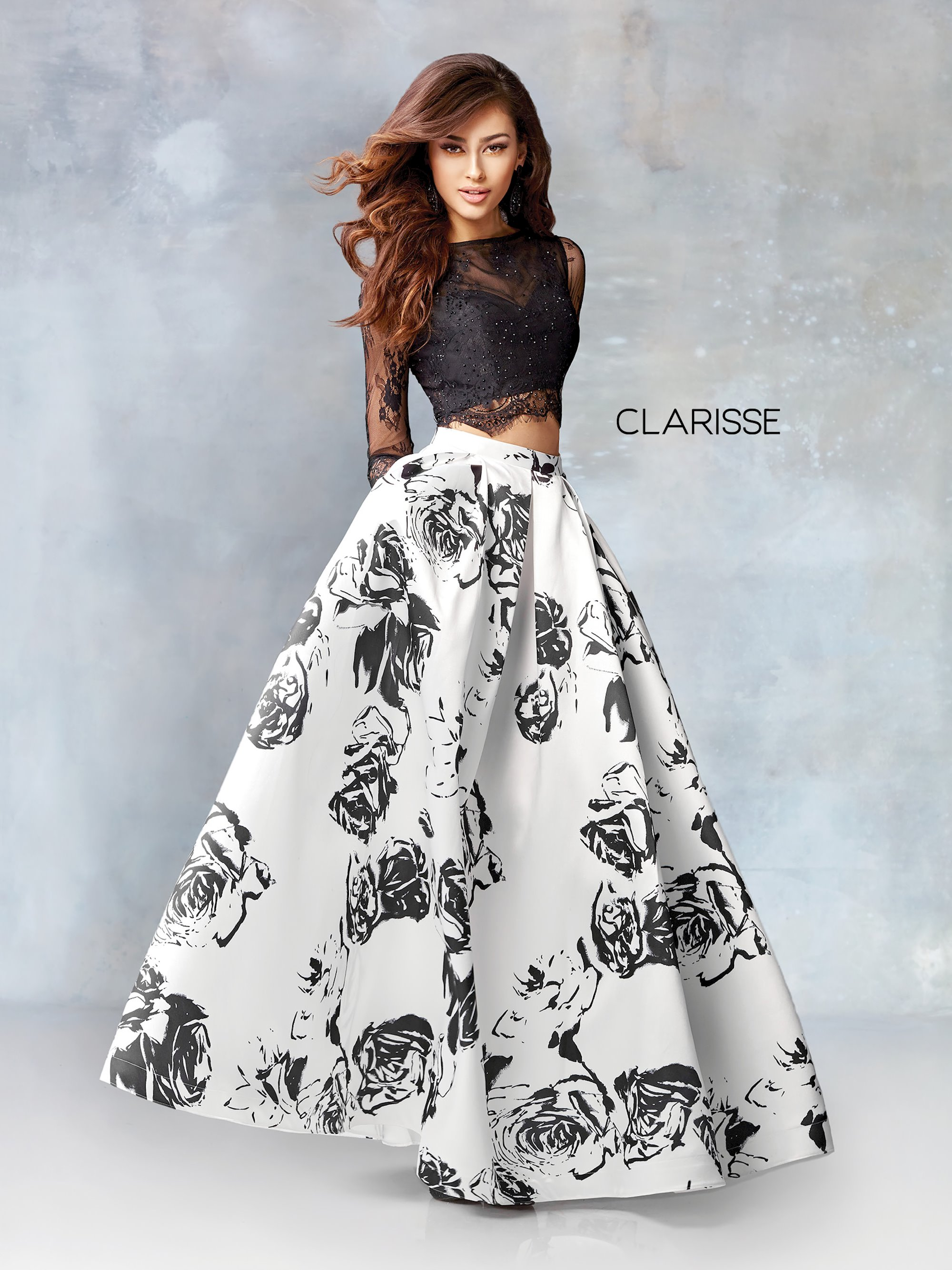7c69e8ab46d Clarisse Prom Dresses Two Piece Black and White Long Sleeve Dress. Double  tap to zoom
