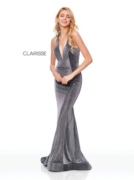 Fitted V-Neck Evening Dress