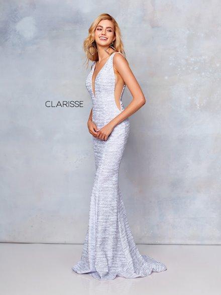Plunging V-Neck Glitter Jersey Dress