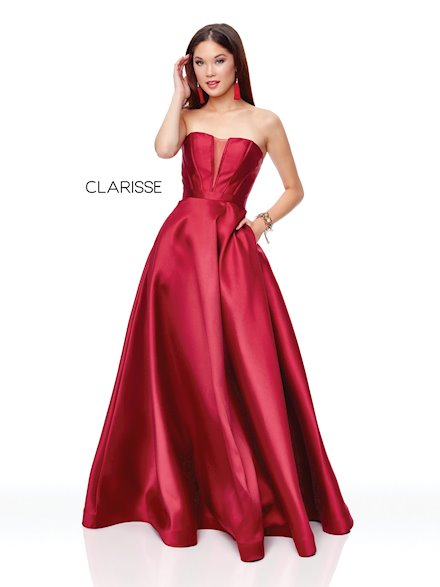 Strapless Burgundy Ball Gown