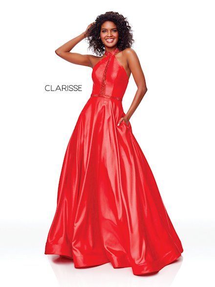 Red High Neck Ball Gown