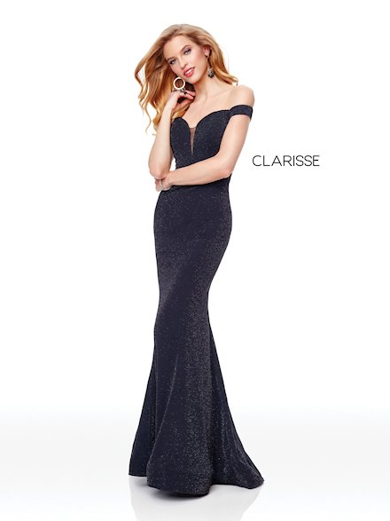 Off the Shoulder Glitter Jersey Gown