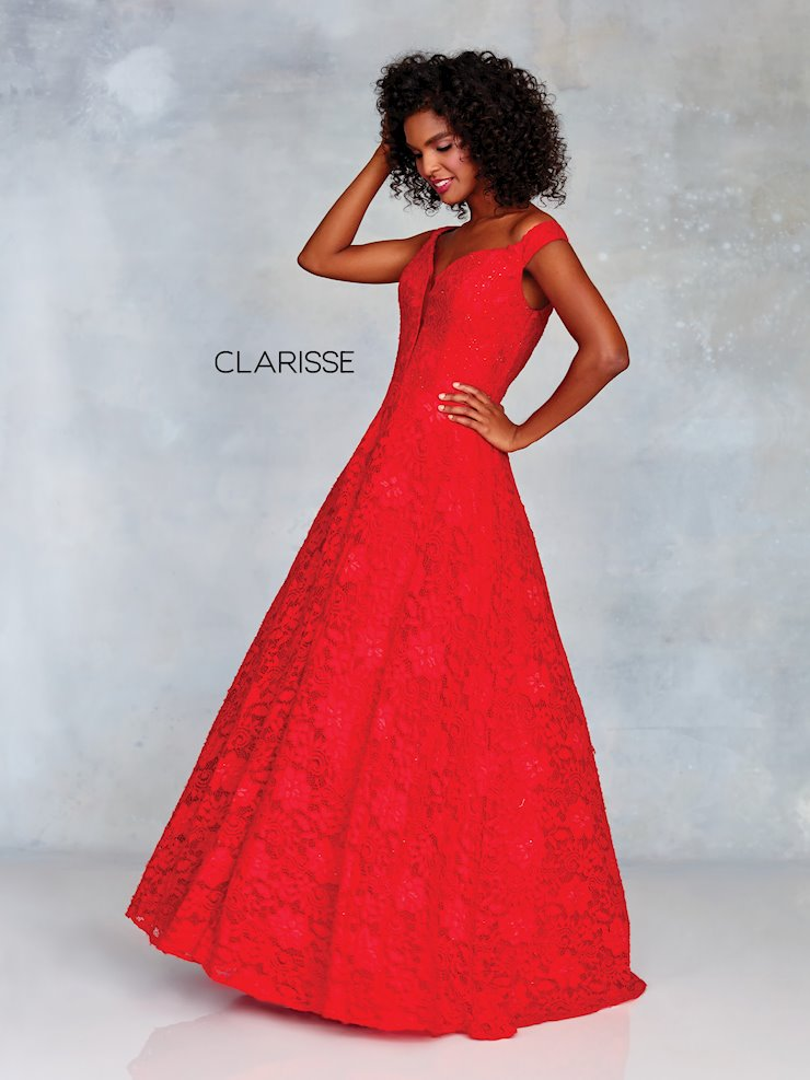 Clarisse Prom Dresses Red Lace Off the Shoulder Ball Gown