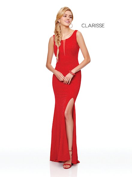 Red High Neck Formal Dress