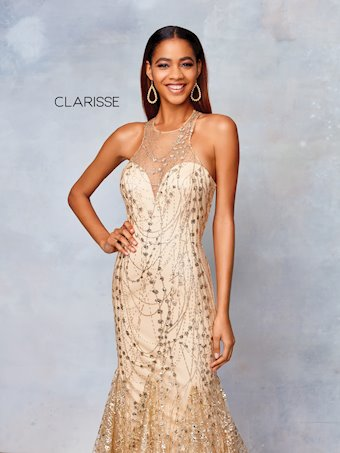 Clarisse Prom Dresses Gold Glitter Mermaid Dress