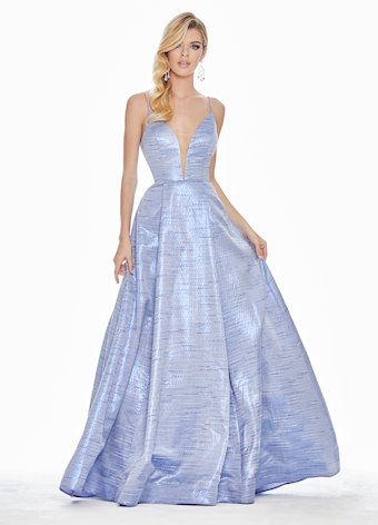 1336 V-Neckline Brocade Ball Gown
