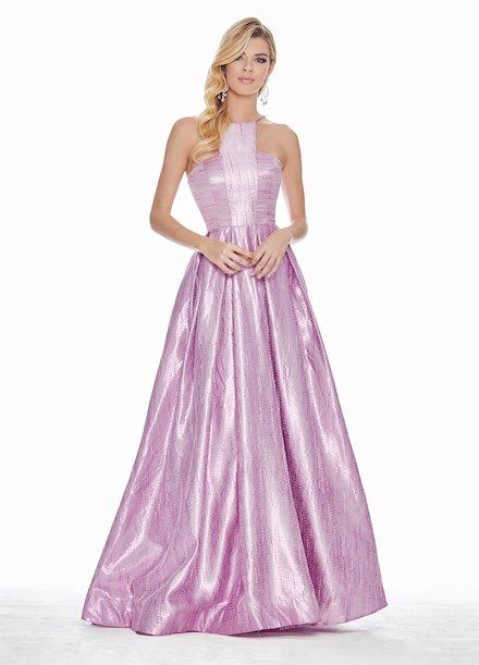 Ashley Lauren Halter Two-Tone Brocade Ball Gown