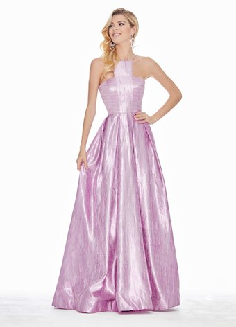 Ashley Lauren Halter Two-Tone Brocade Ball Gown