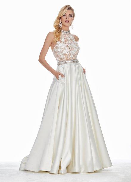 Ashley Lauren Embroidered Organza Bustier Ball Gown