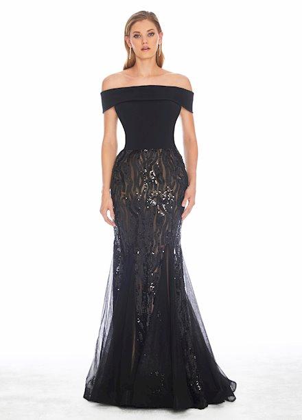 Ashley Lauren Off Shoulder Stretch Sequin Evening Dress