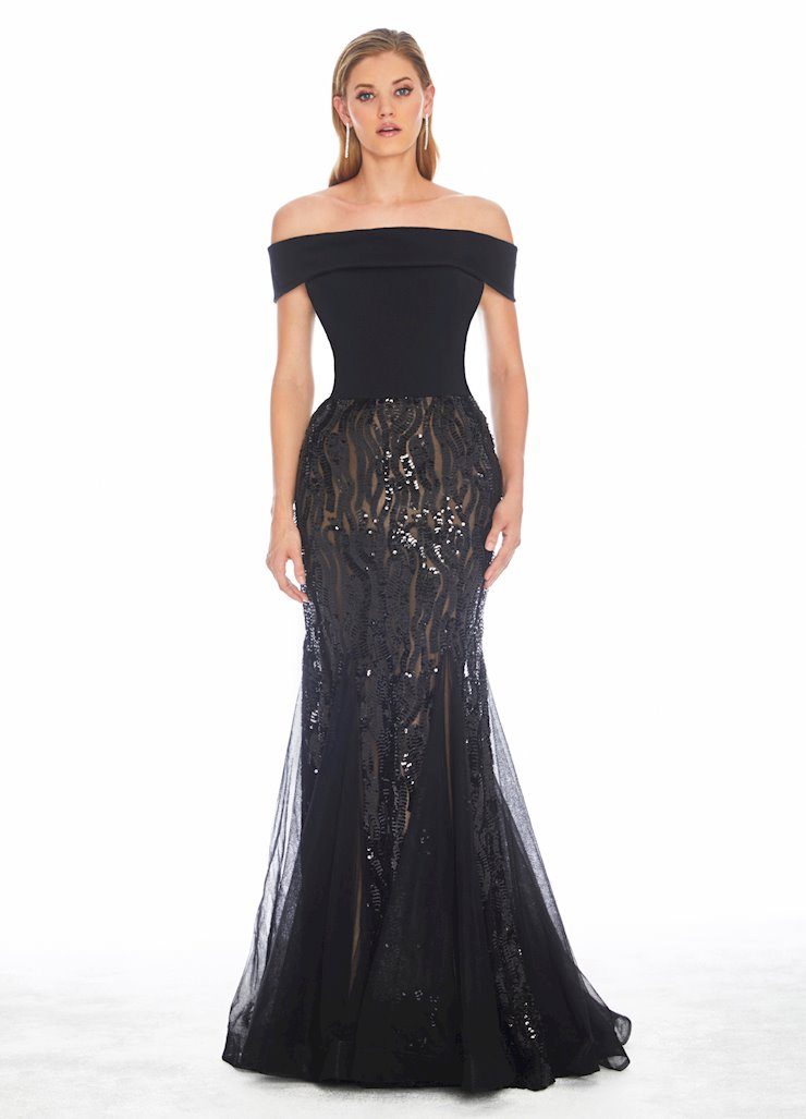 Ashley Lauren Off Shoulder Stretch Sequin Evening Dress Image