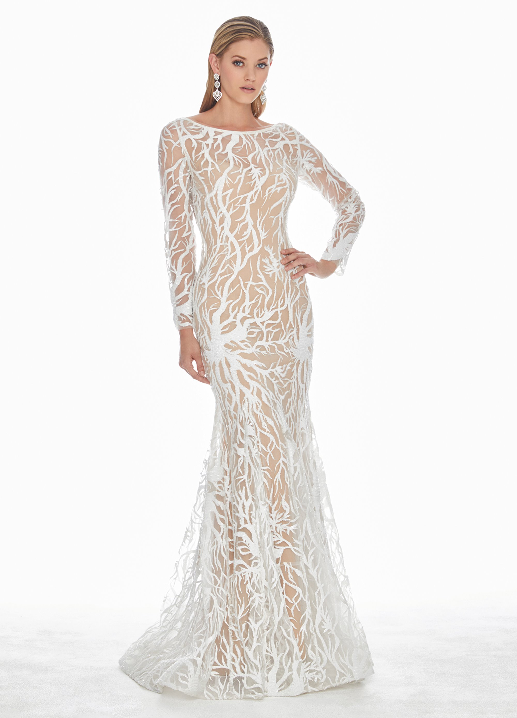 ea4d93de9df Ashley Lauren White Sequin Evening Dress. Double tap to zoom