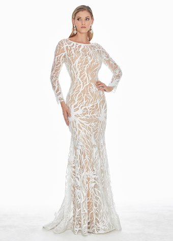 Ashley Lauren White Sequin Evening Dress