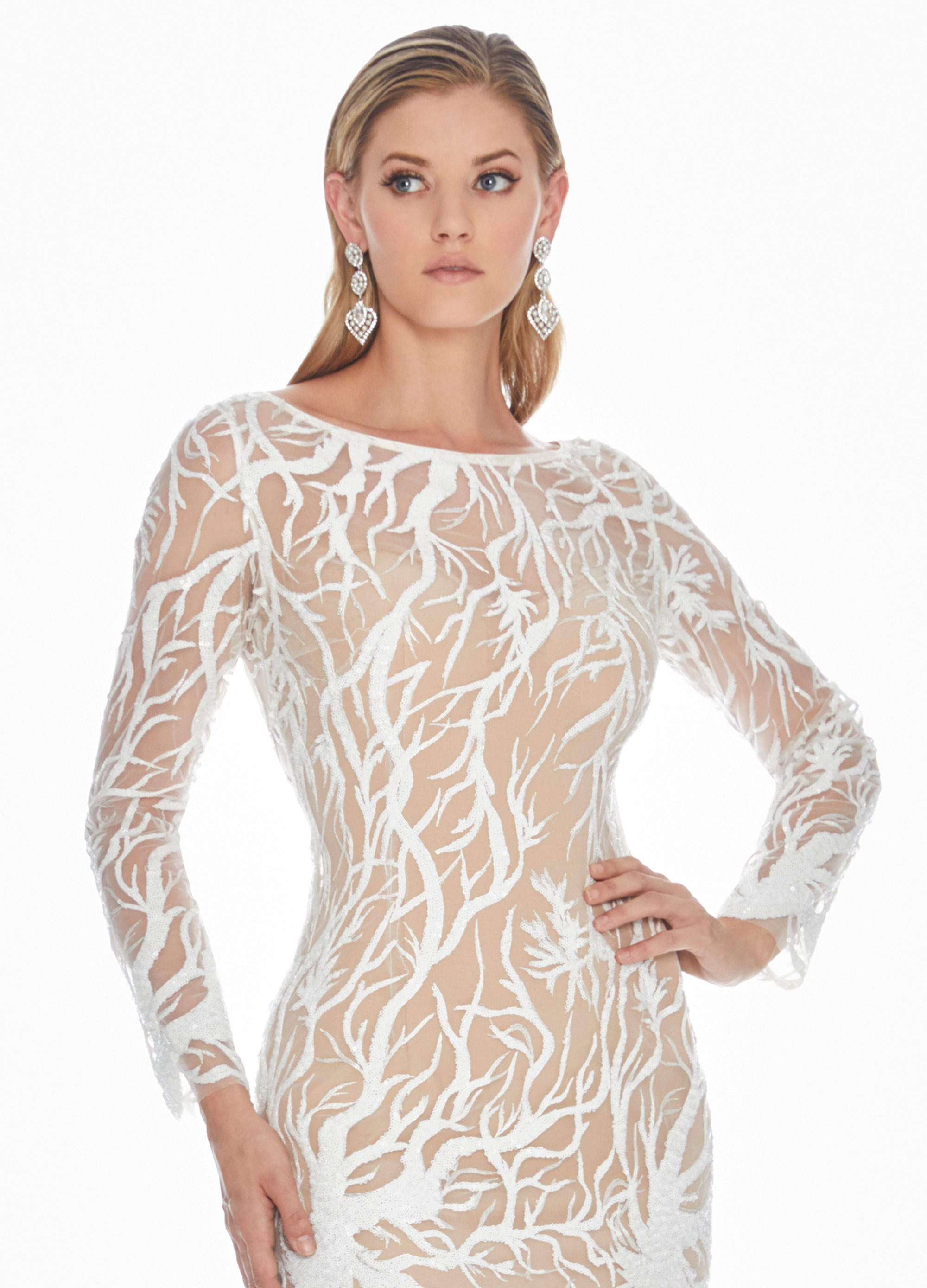 2b37ac44a9 Ashley Lauren - White Sequin Evening Dress