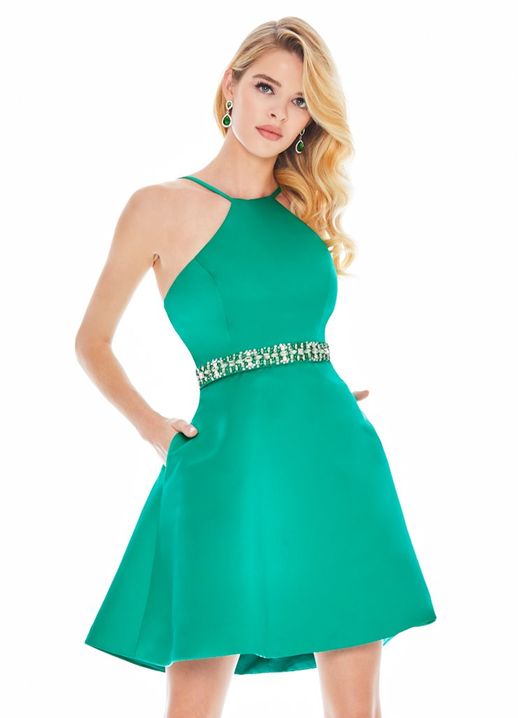 Ashley Lauren Halter Top Satin Cocktail Dress