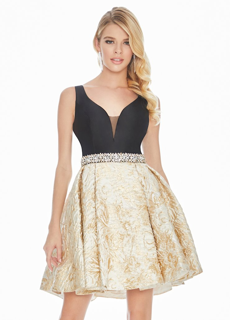 Ashley Lauren Gold Metallic Cocktail Dress