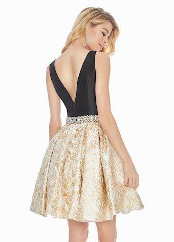Ashley Lauren Gold Metallic Cocktail Dress