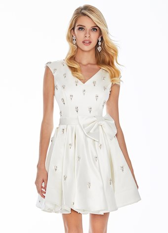 Ashley Lauren Crystal Accented Cocktail Dress