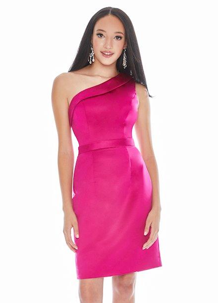 Ashley Lauren One Shoulder Satin Cocktail Dress