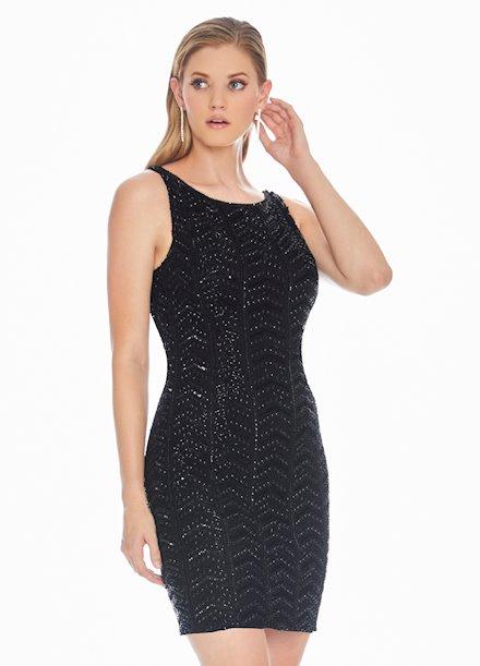 Ashley Lauren Fully Beaded Low Back Cocktail Dress