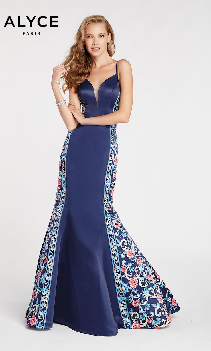 Alyce Paris Navy Blue Print Prom Dress