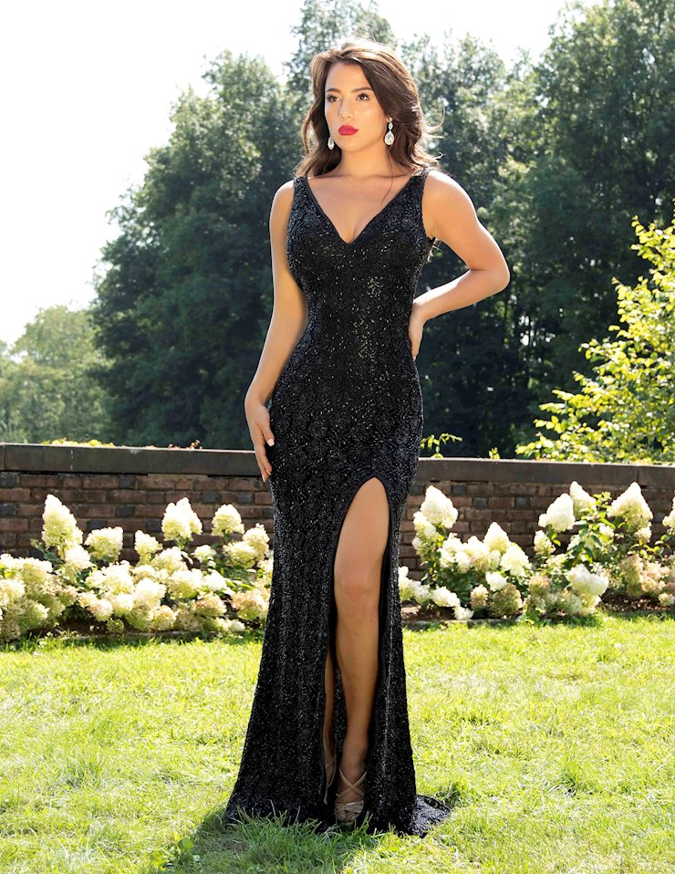 Primavera Couture Black Sequin Evening Gown