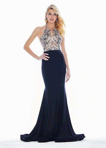 Ashley Lauren Beaded Halter Evening Dress