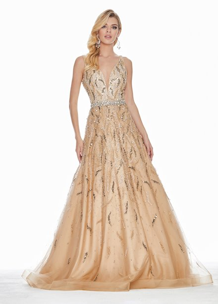 Ashley Lauren Beaded Nude Illusion Ball Gown
