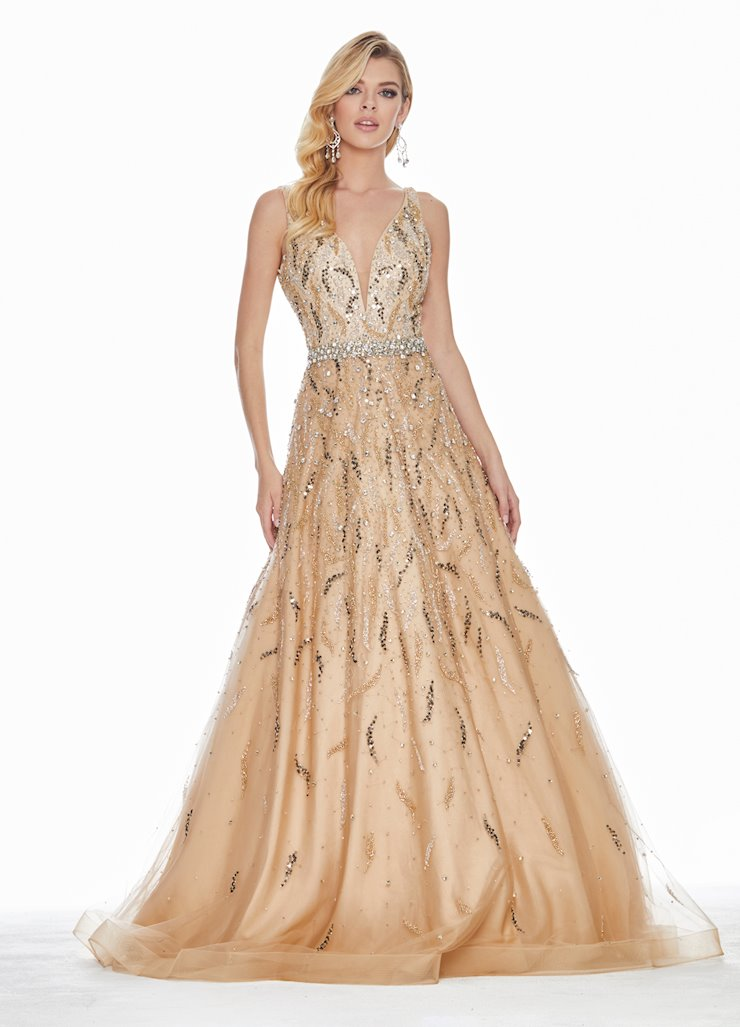 Ashley Lauren Beaded Nude Illusion Ball Gown Image
