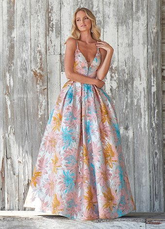 Ashley Lauren Colorful Floral Brocade Ball Gown