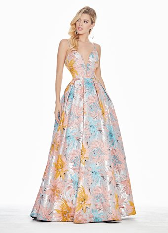 1369 Colorful Floral Brocade Ball Gown