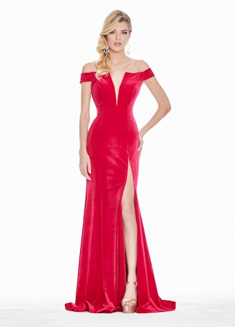 Ashley Lauren Off The Shoulder Velvet Evening Dress