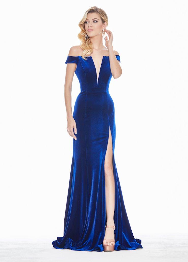 Ashley Lauren Off The Shoulder Velvet Evening Dress Image