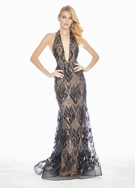 Ashley Lauren Sequin Paillette Evening Dress