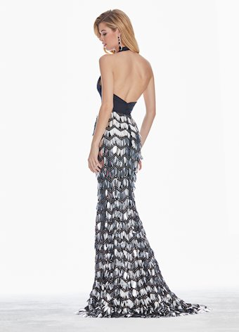 Ashley Lauren Sequin Paillette Halter Evening Dress