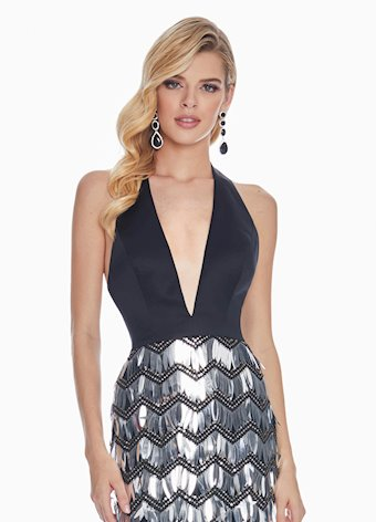 1375 Sequin Paillette Halter Evening Dress