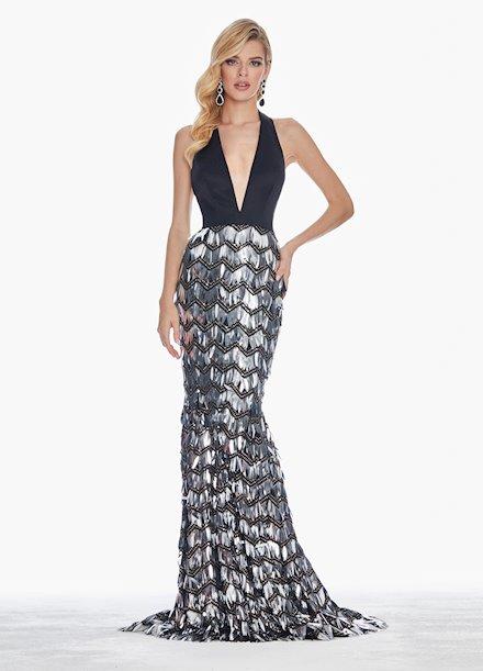 Ashley Lauren Sequin Paillette Halter Evening Dress