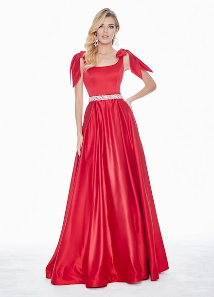 Ashley Lauren Evening Dress with Bows on Shoulders