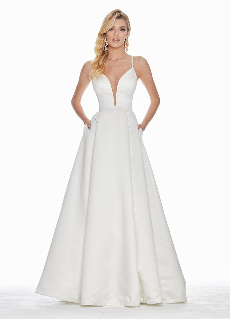 Ashley Lauren V-Neckline Satin Ball Gown