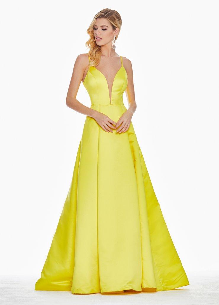 Ashley Lauren V-Neckline Satin Ball Gown