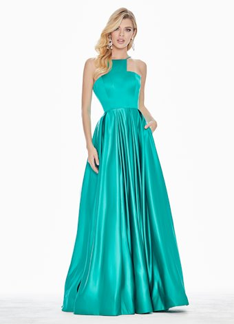 Ashley Lauren Halter Satin A-Line Evening Dress