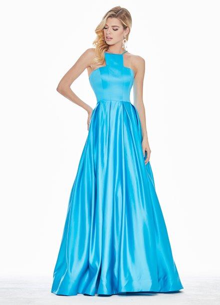 Ashley Lauren Halter Satin A-Line Evening Dress