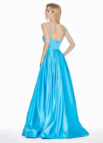1385 Halter Satin A-Line Evening Dress