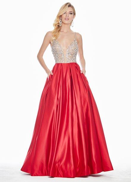 Ashley Lauren Beaded V-Neck Ball Gown