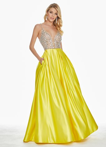 Ashley Lauren Beaded V-Neck Ball Gown