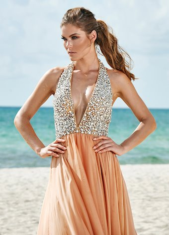 Ashley Lauren Beaded V-Neck Two-Tone Evening Dress