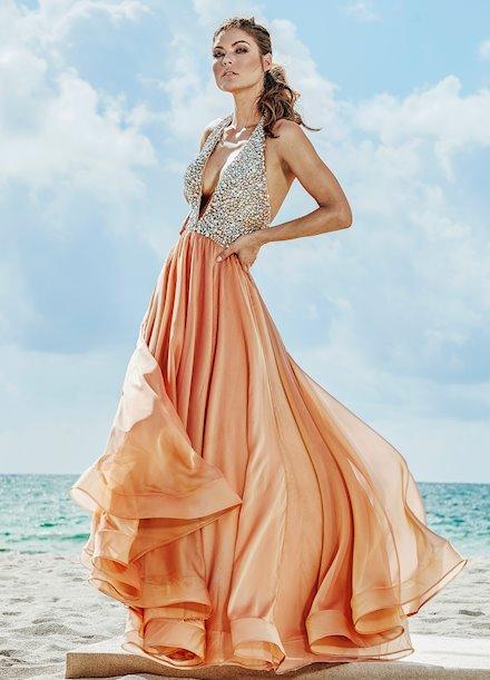 Ashley Lauren Beaded V-Neck Two-Tone Evening Dress